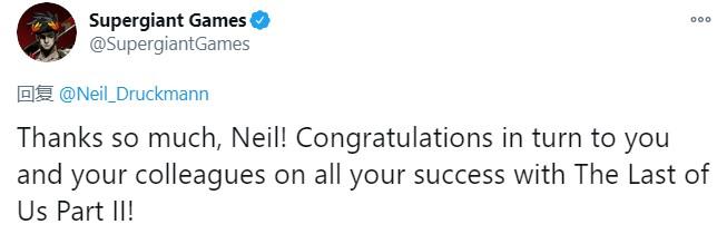 《最后的生还者2》编剧Neil祝贺《黑帝斯》获IGN年度游戏