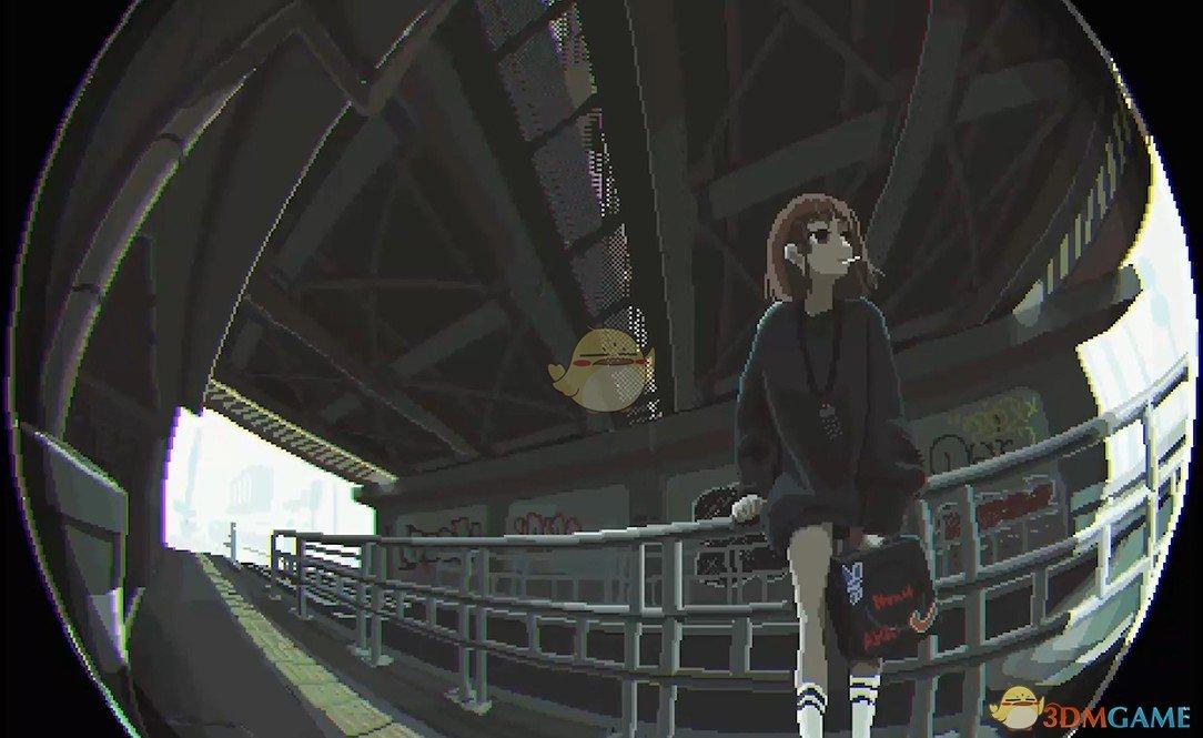 《Wallpaper Engine》鱼眼视觉天桥下抽烟的少女像素风动态壁纸