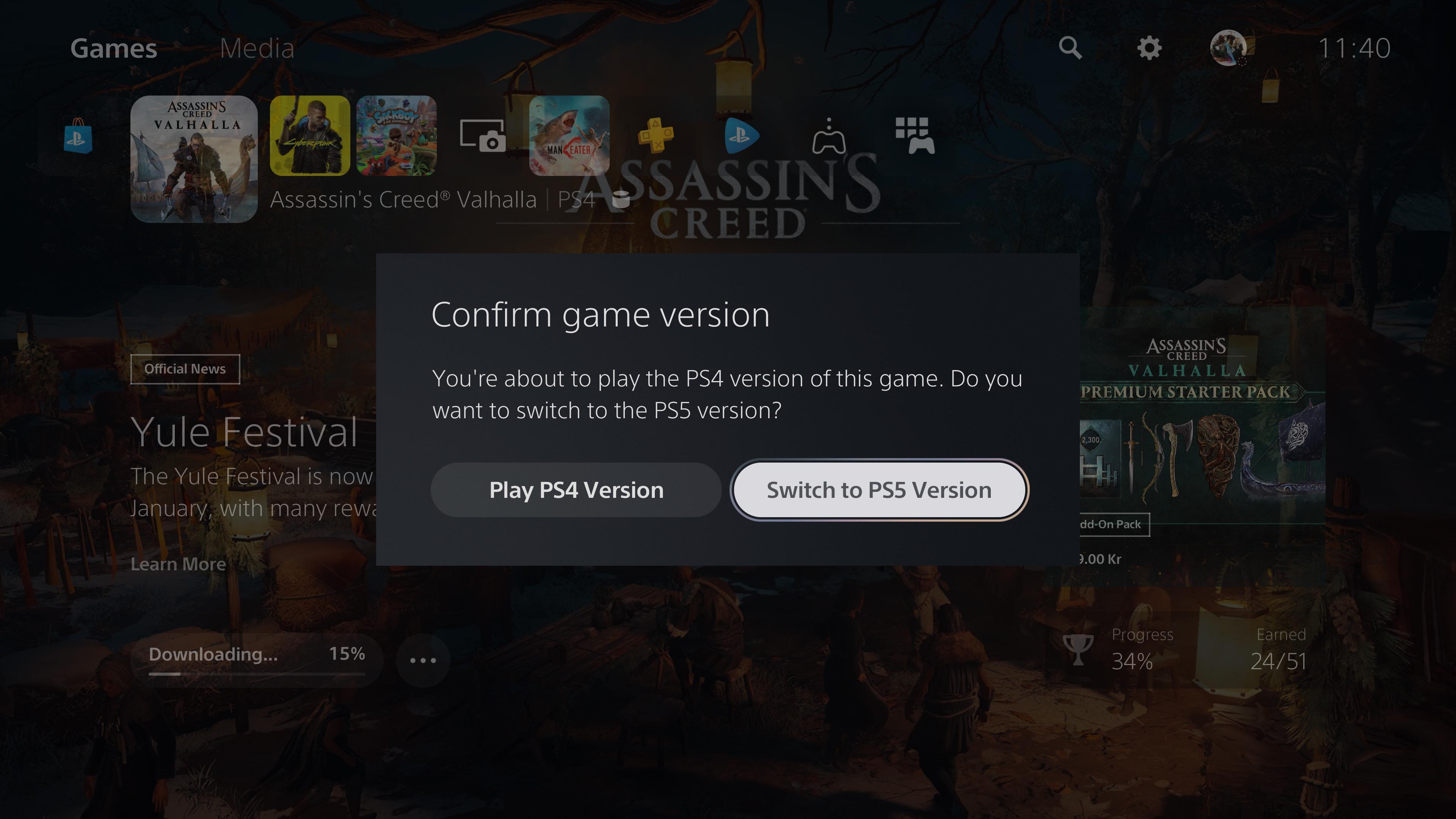 PS5推出更新:提醒玩家PS4/PS5游戏版本选择