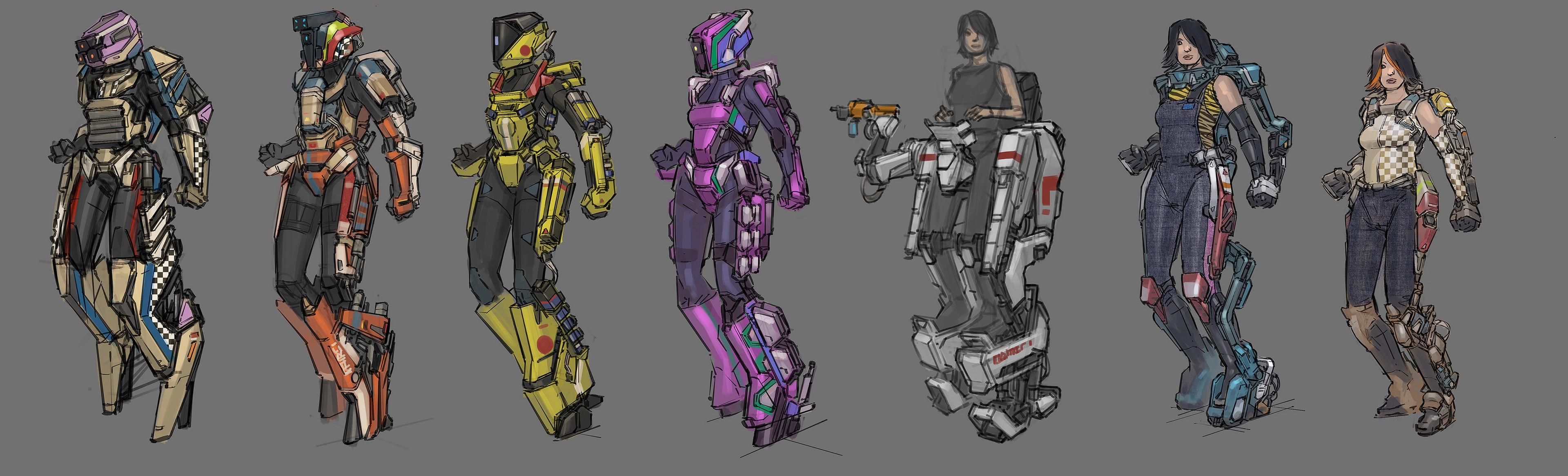 《赛博朋克2077》预制阶段角色概念图 机甲酷炫