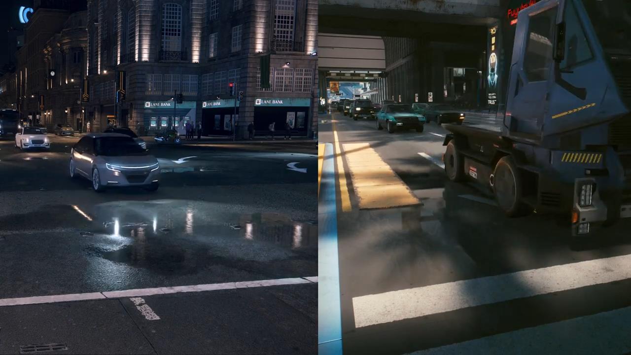 《赛博朋克2077》《看门狗军团》RTX3080 4K/光追对比