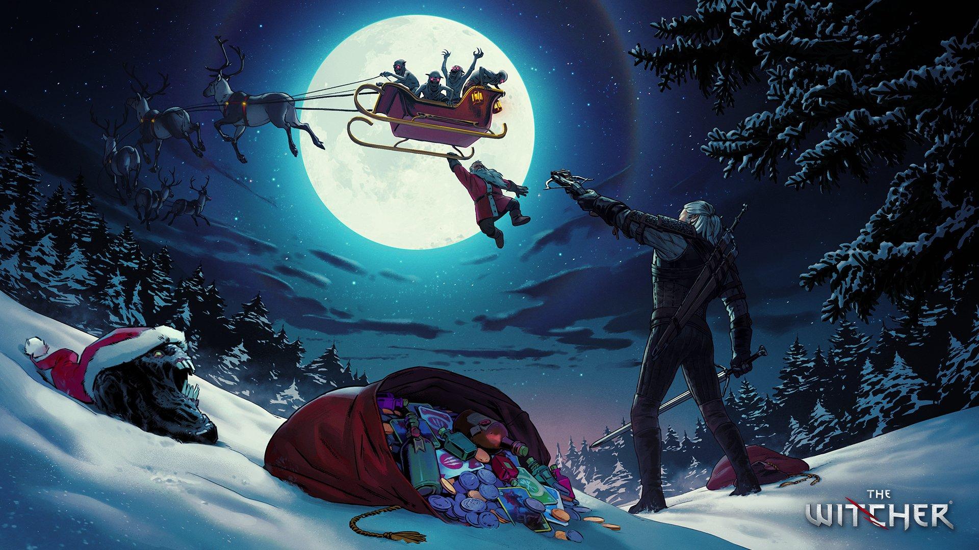 《巫师》官推发圣诞贺图 白狼拯救圣诞老人
