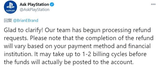 索尼已开始处理《赛博朋克2077》退款 1-2个计费周期内退回