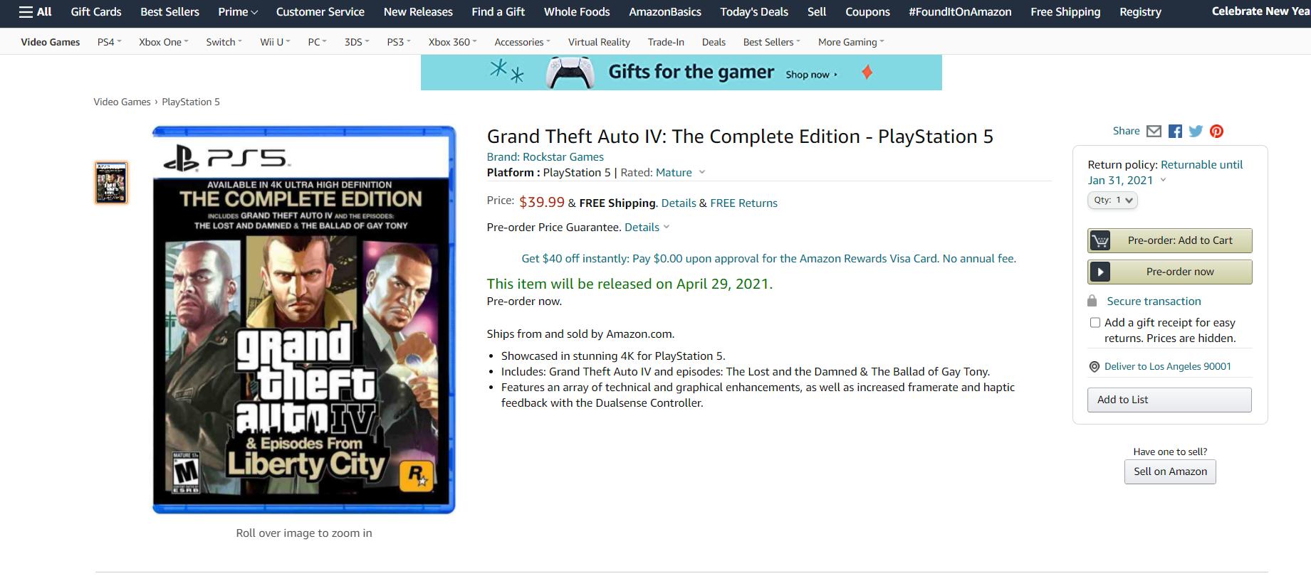 PS5版《GTA4》完整版短暂上架亚马逊  将于2021年4月29日发售
