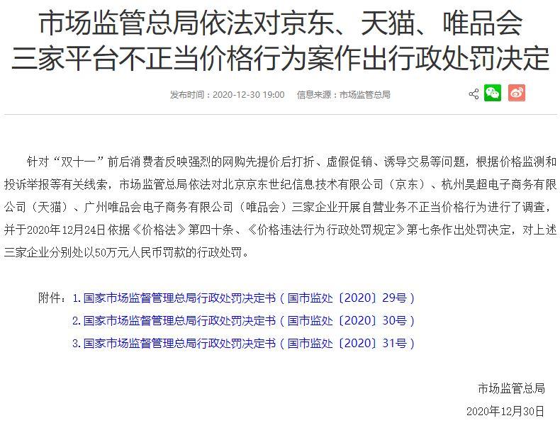 双十一先提价再降价 天猫、京东、唯品会遭罚款50万
