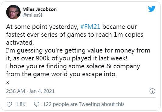《足球经理2021》成系列最快突破100万销量游戏