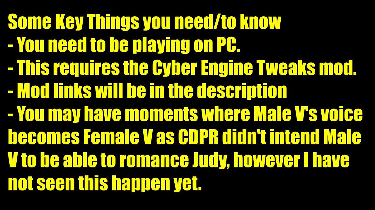 《赛博朋克2077》Mod新发现 男性V也能攻略朱迪
