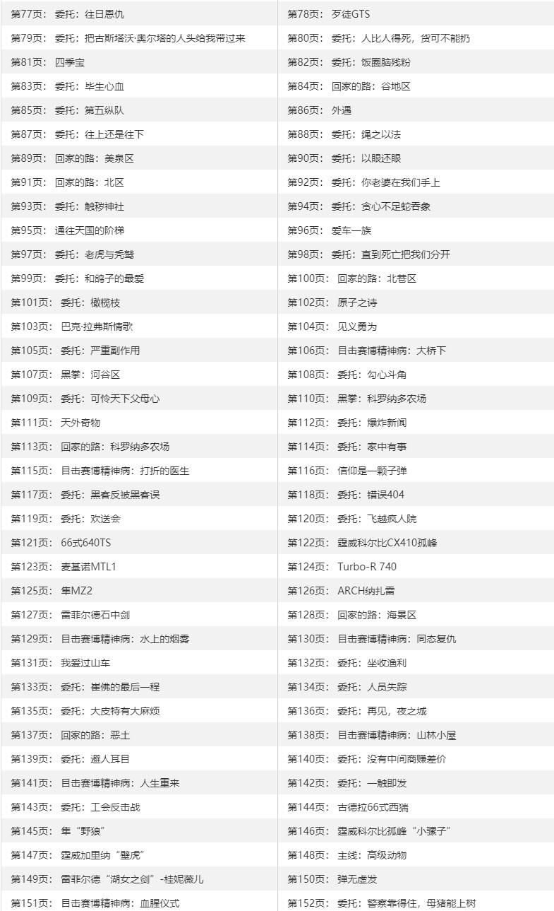 《赛博朋克2077》全任务列表 全支线委托触发及奖励