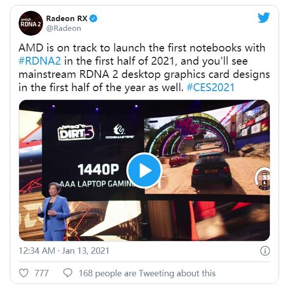 AMD官宣RX 6000M笔记本显卡:主打2K分辨率