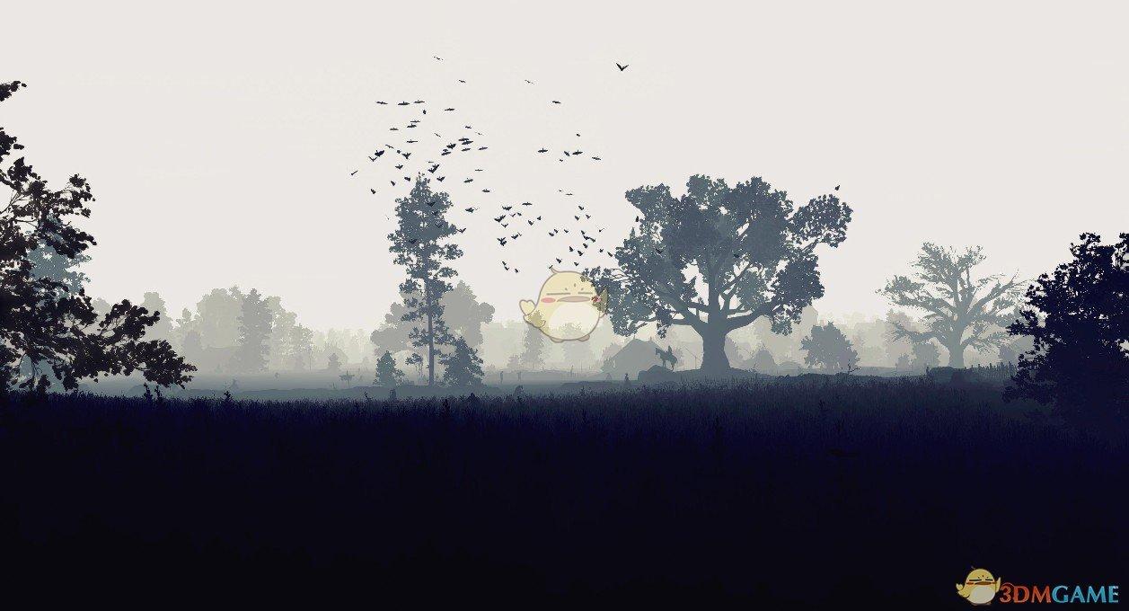 《Wallpaper Engine》黑白灰风格2D巫师3游戏场景动态壁纸