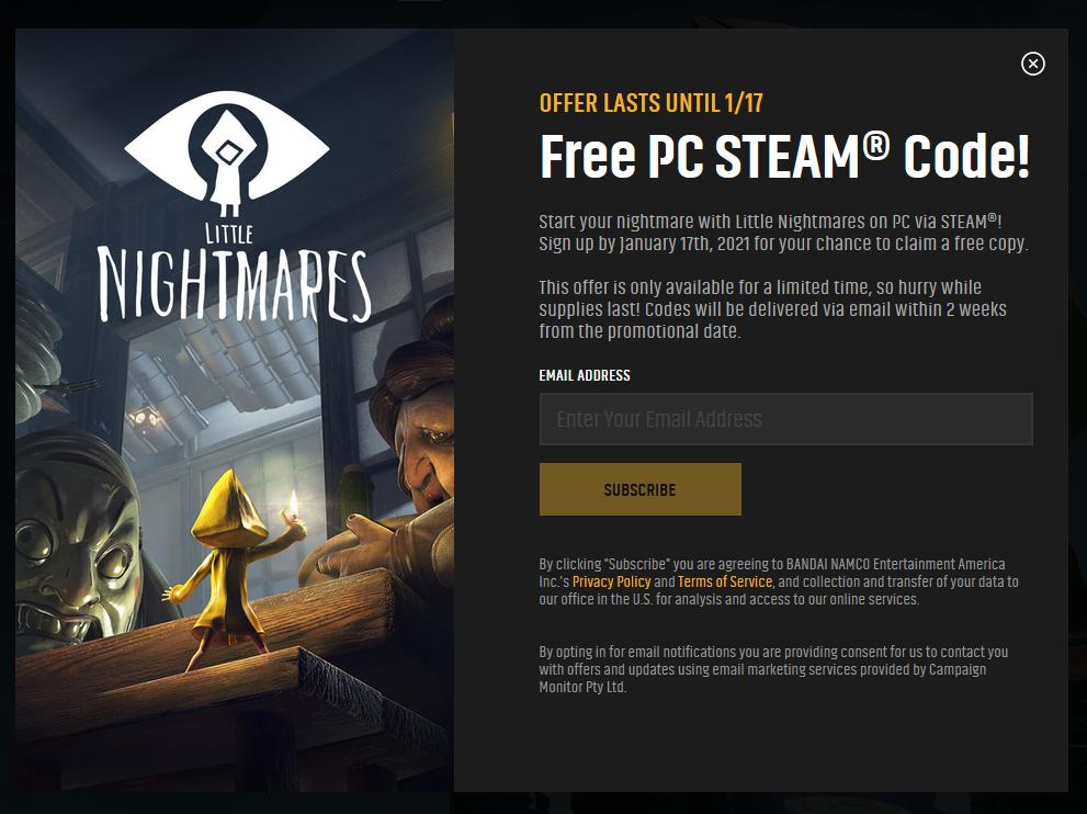 万代开启免费领取《小小梦魇》渠道 订阅后两周内可获游戏Key 第1张