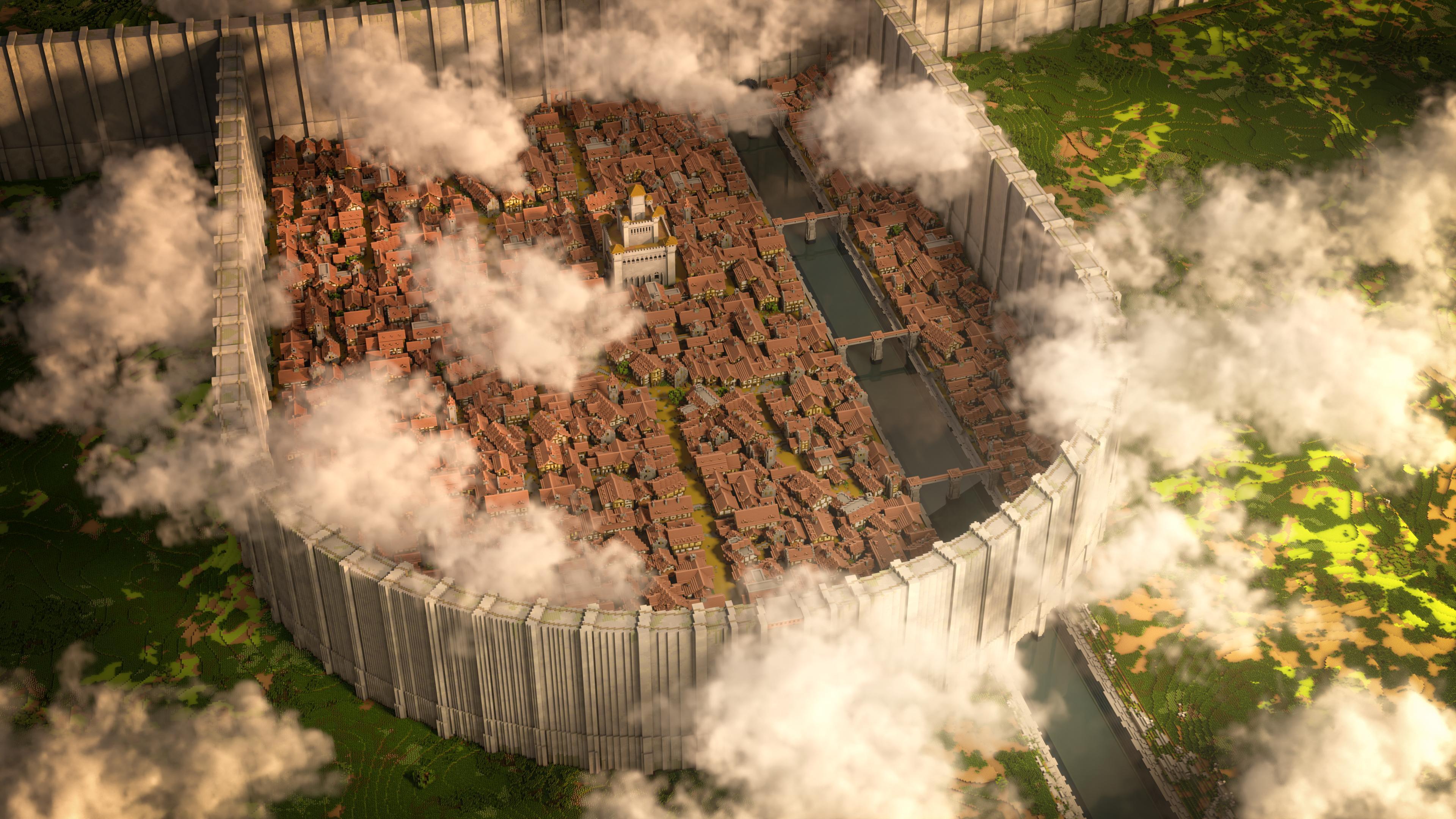 玩家在《我的世界》神还原《进击的巨人》希干希纳区