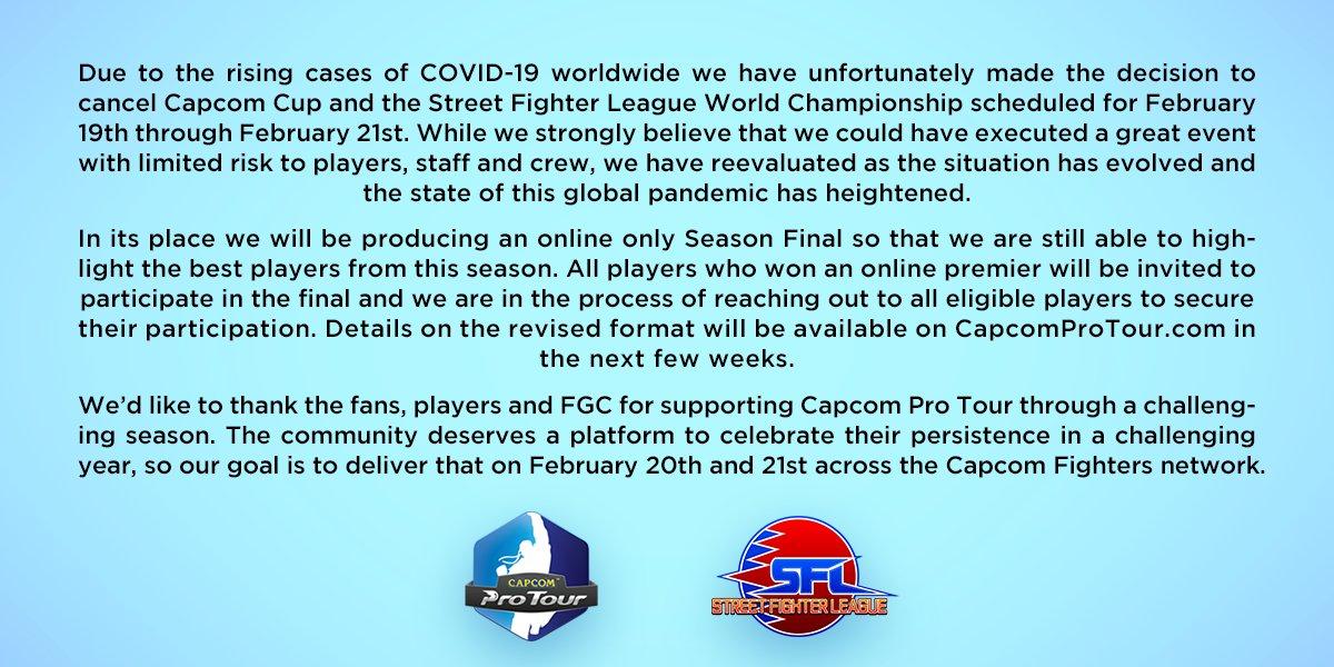 受疫情影响 卡普空取消《街头霸王》全球总决赛