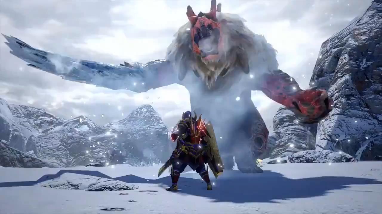 《怪物猎人:崛起》雪鬼兽演示 在雪原游荡的猎人