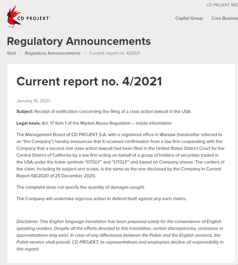 《赛博朋克2077》又因游戏质量问题在美国被起诉:误导投资者