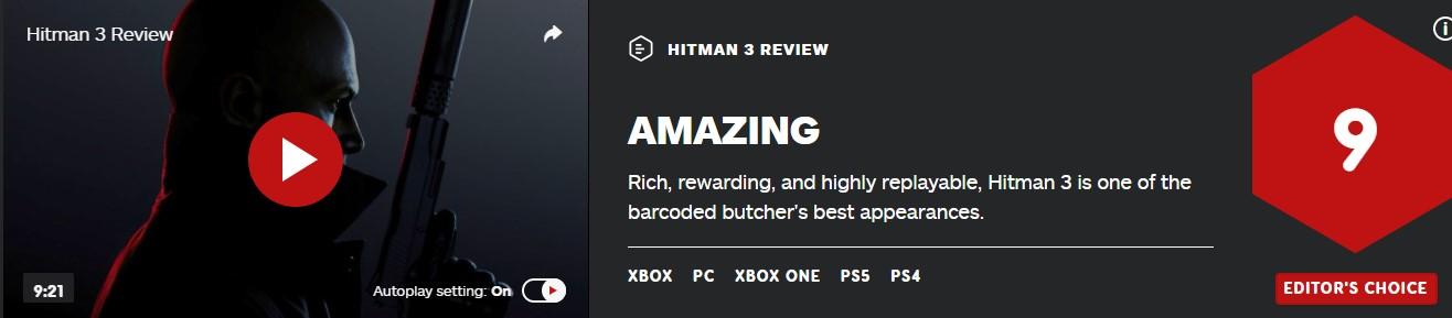 《杀手3》IGN 9分:内容丰富、可玩性高