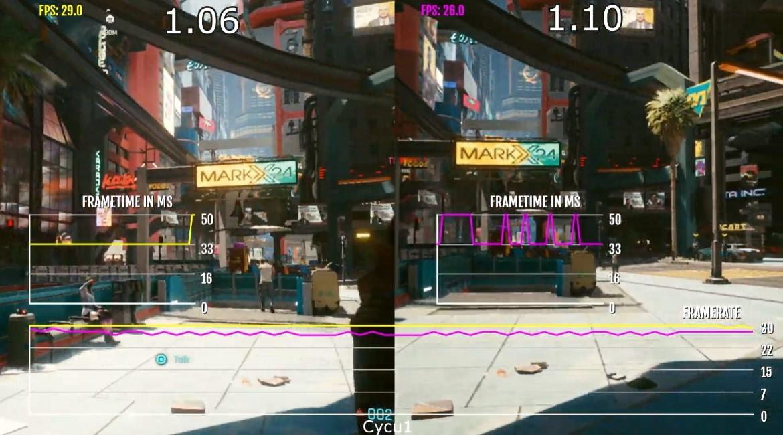 《赛博朋克2077》PS4版1.10补丁帧数与之前对比 有优有劣
