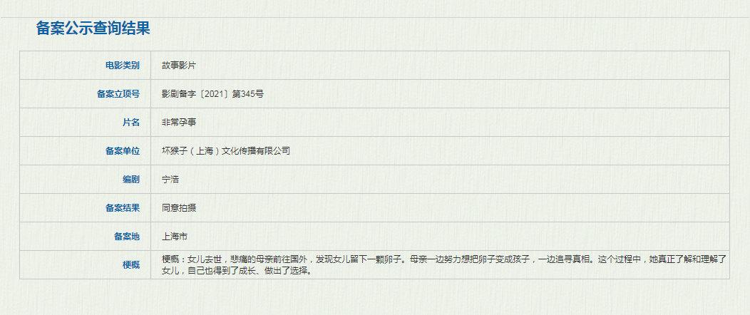 宁浩编剧新片《非常孕事》立项 聚焦代孕题材