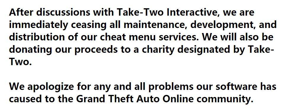 《GTA》外挂站点被关 应Take Two要求捐出所有收益
