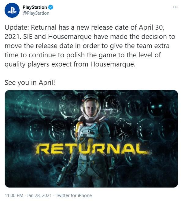 PS5独占科幻《Returnal》跳票至4月30日 以确保游戏的质量