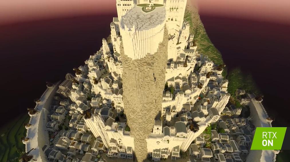 《我的世界》还原《魔戒》刚铎首都 光追效果展示