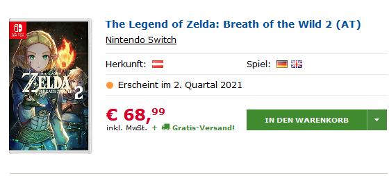 奥地利网站显示《旷野之息 续篇》将于今年二季度发售