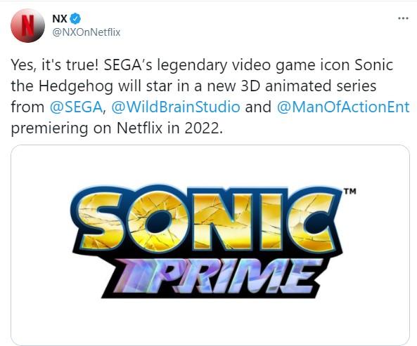 《索尼克》全新3D动画公开 2022年Netflix播映
