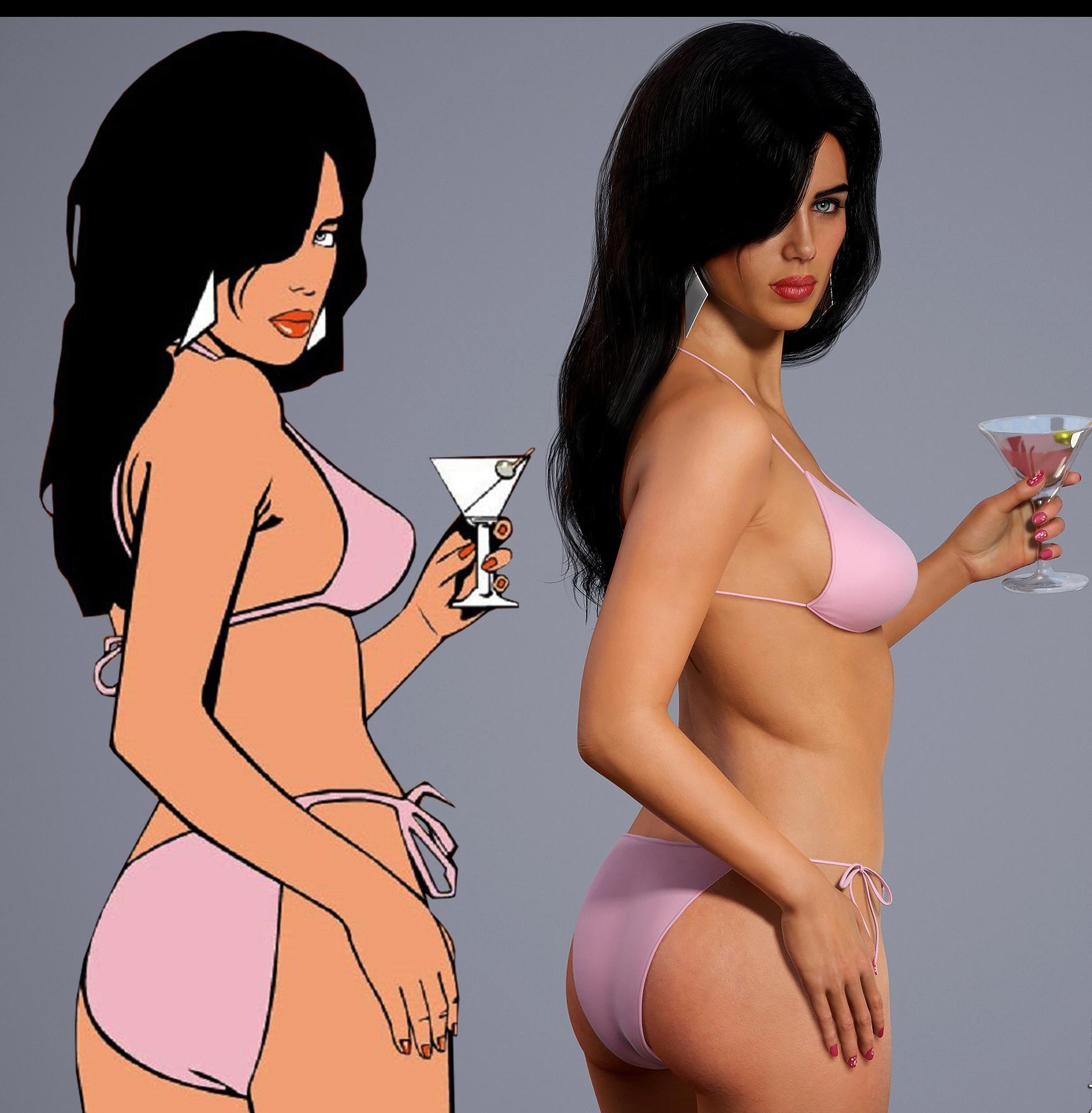 《侠盗猎车:罪恶都市》封面女郎3D建模 性感逼真