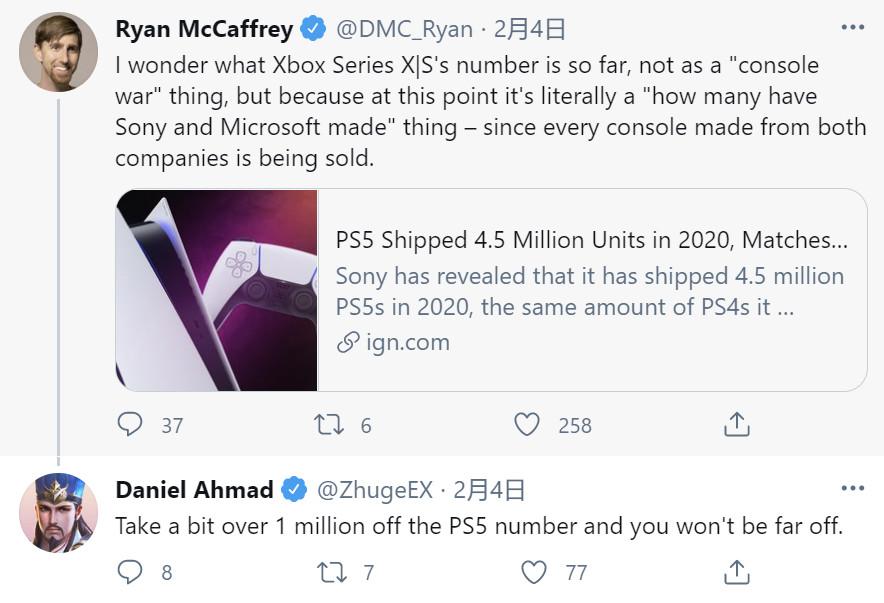 差距不是太大!分析师曝XSX|S销量落后PS5 100万