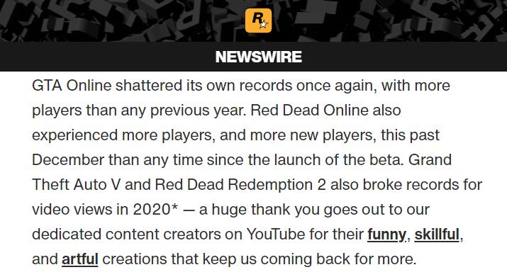 宝刀未老 《GTA OL》2020年创下新的玩家人数记录