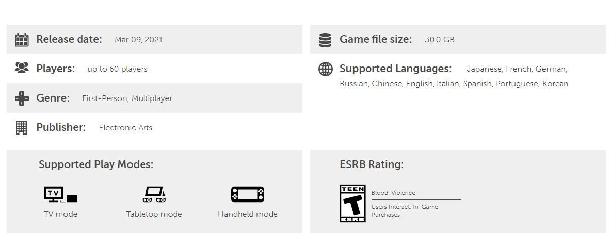《Apex英雄》Switch版至少需要30GB硬盘空间