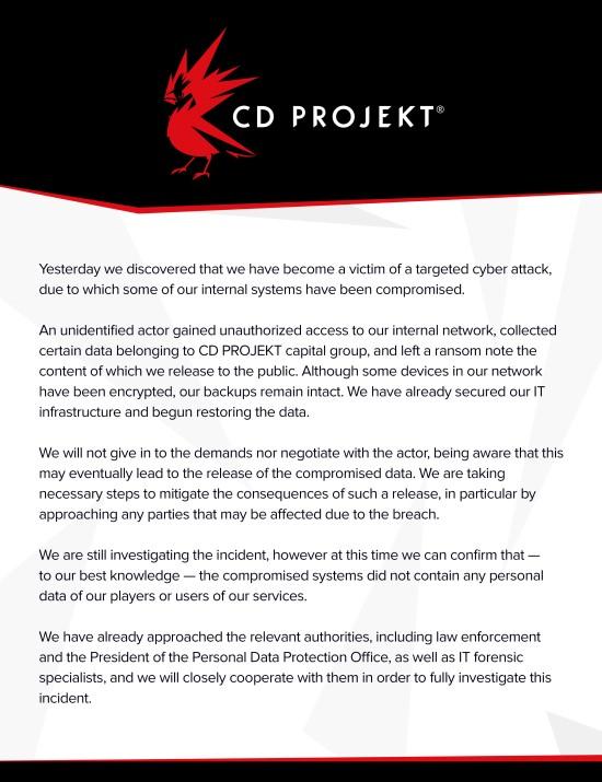 CDPR内部系统遭入侵窃取数据 黑客想索要钱款