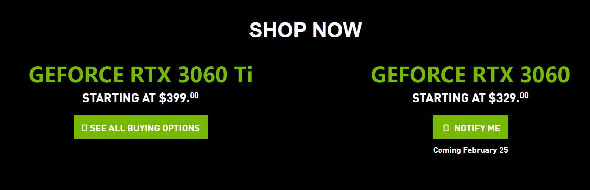 NVIDIA官网更新 确认RTX 3060上市日期为2月25日
