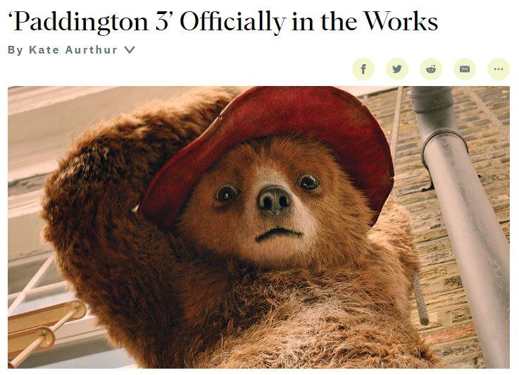 真人动画电影《帕丁顿熊3》确认推出 正处于筹备制作阶段