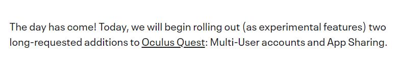 Oculus Quest将支持多账户登陆以及应用共享功能