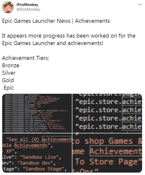 网曝Epic商城成就系统新进展 有金银铜等四个等级
