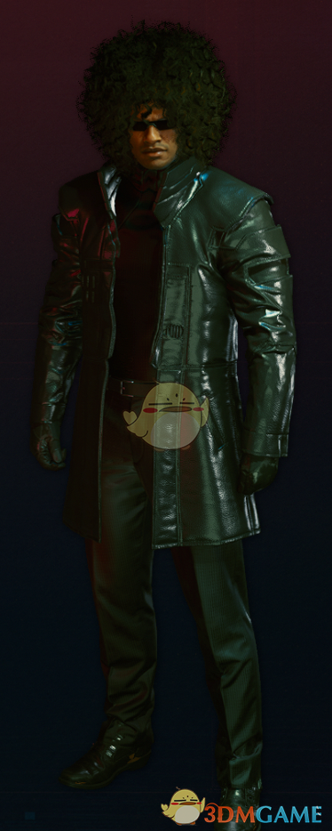 《赛博朋克2077》黑色皮革风衣MOD