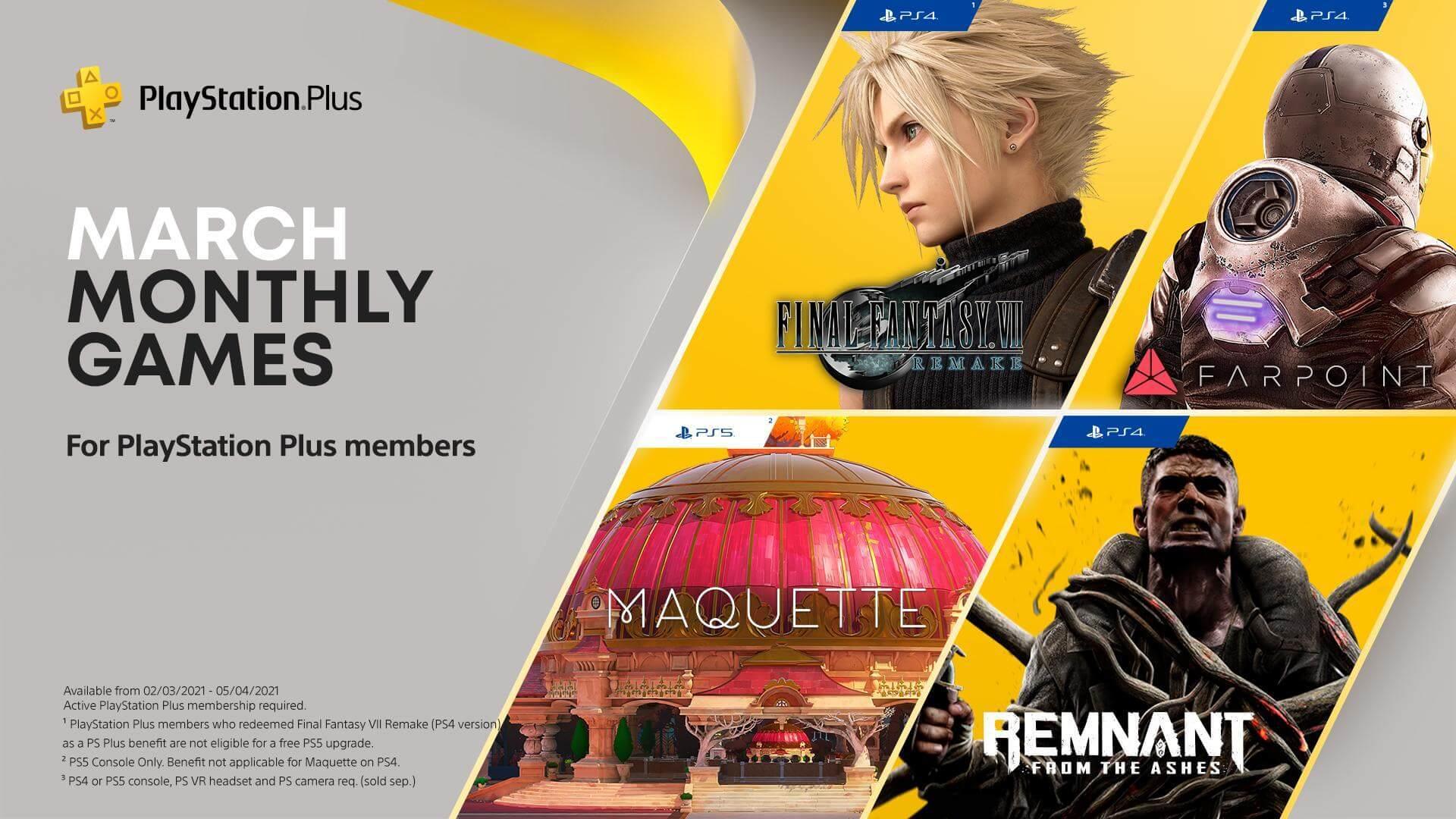 《最终幻想7:重制版》将是3月会免游戏 但无法免费升级到PS5版