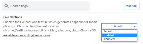 谷歌Chrome浏览器新增 Live Captions 实时翻译功能截图