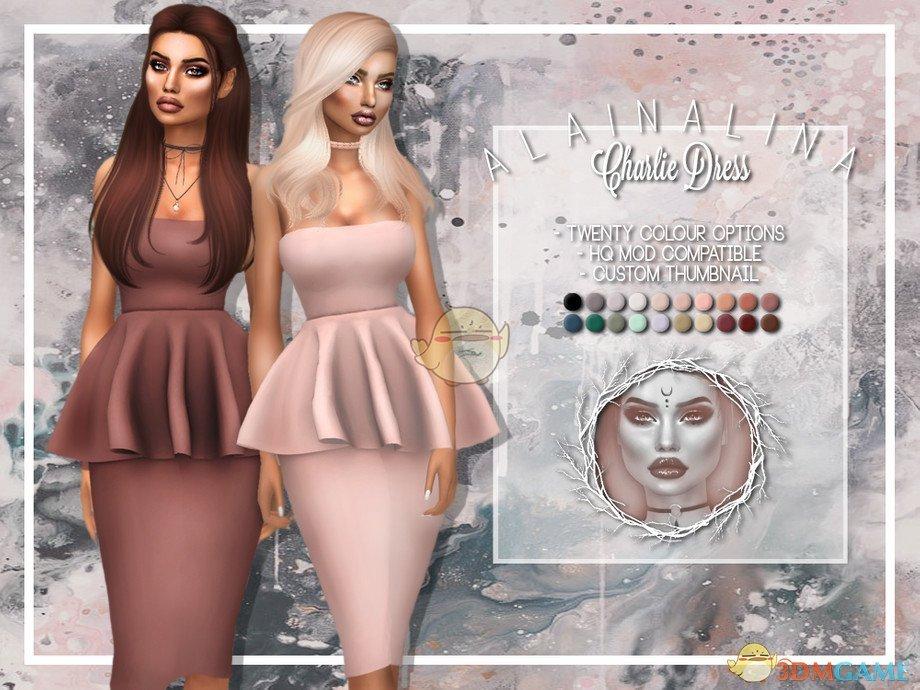 《模拟人生4》女性现代简洁褶皱连衣裙MOD