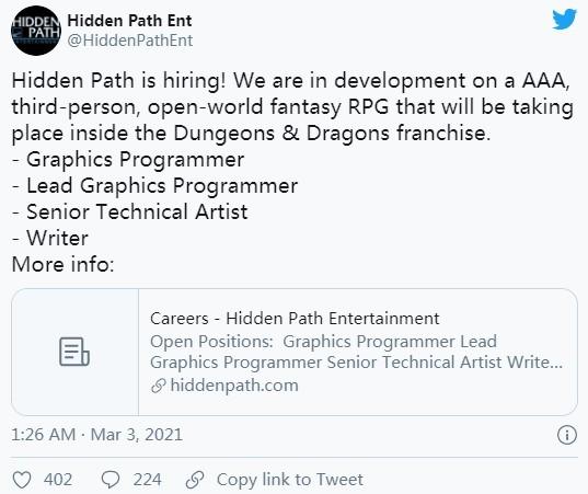 CSGO开发商发招聘公告 在开发第三人称3A奇幻大作