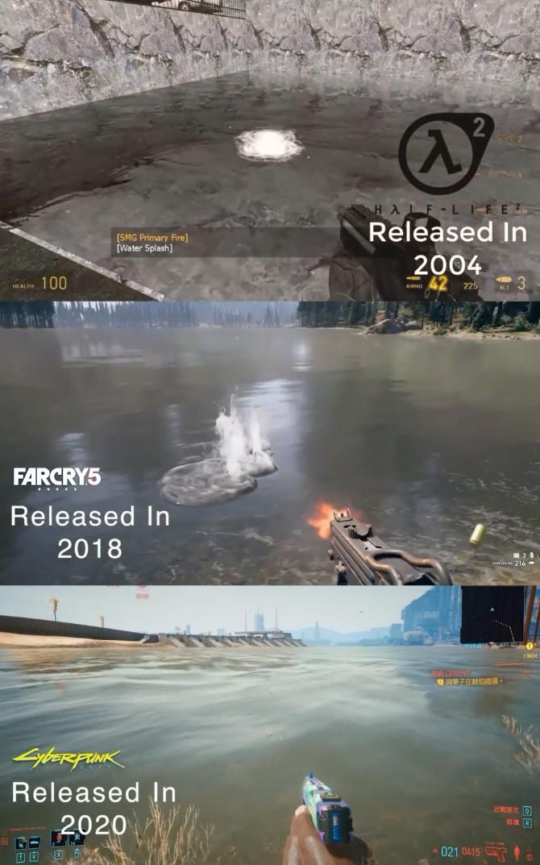 游戏中水面物理效果对比 《赛博朋克2077》竟不如16年前游戏