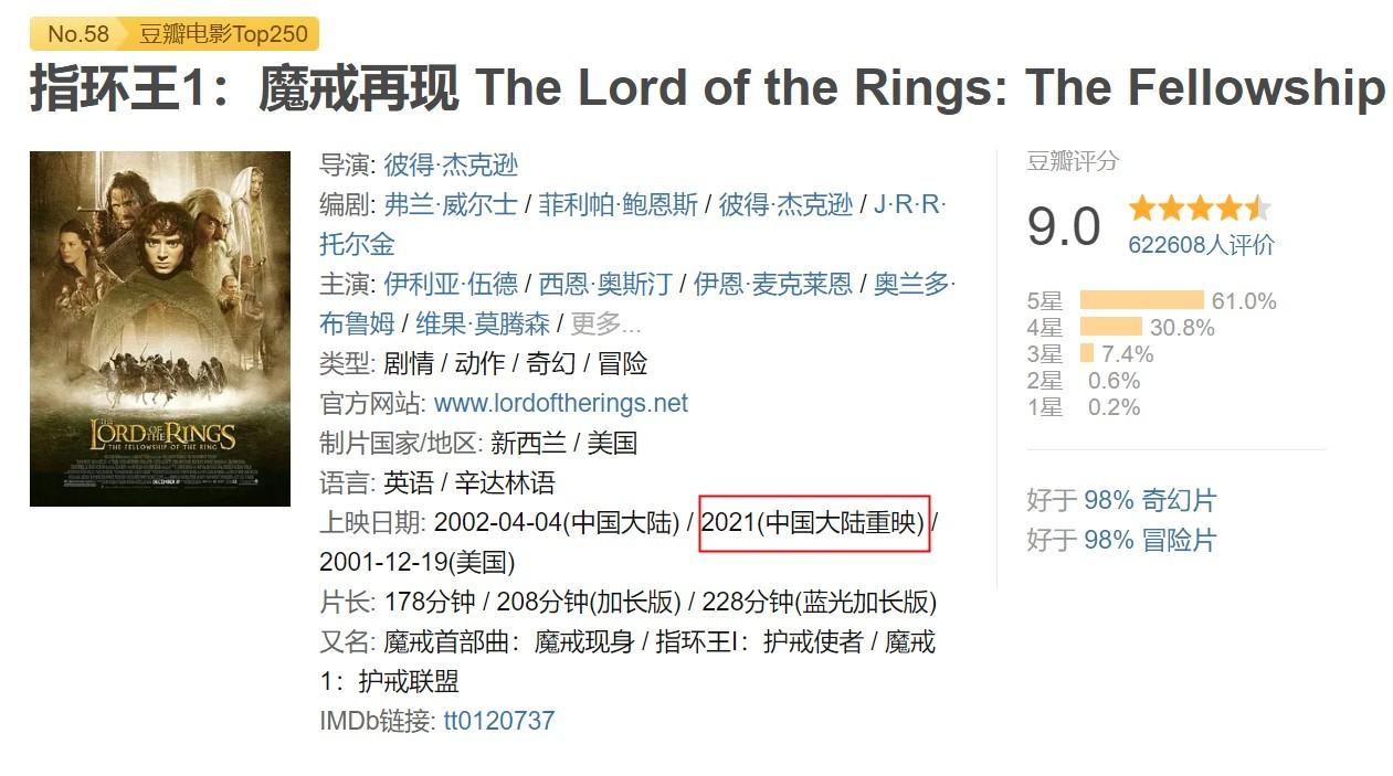 《阿凡达》或3月12日重映 《指环王》3部曲也将重映
