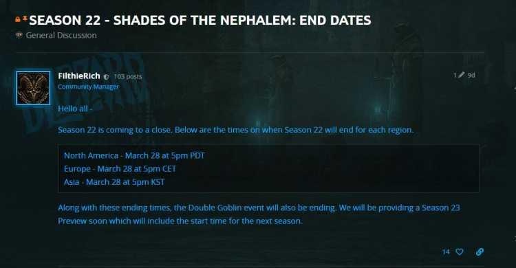 《暗黑3》第22赛季将于3月28日下午5点结束