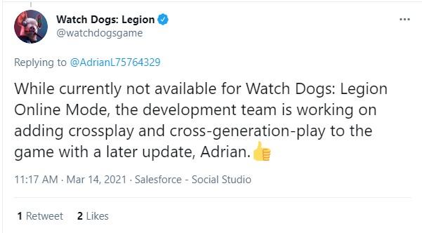 育碧回应玩家:《看门狗:军团》在线模式将添加跨平台联机功能