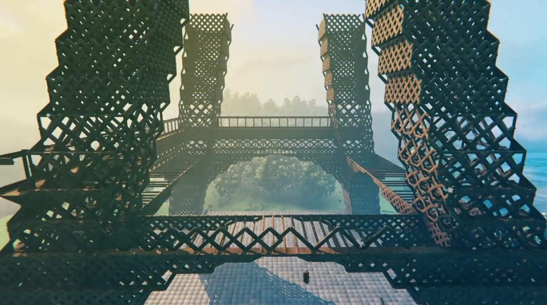 玩家在《英灵神殿》打造了埃菲尔铁塔 实大比例消耗4万方块