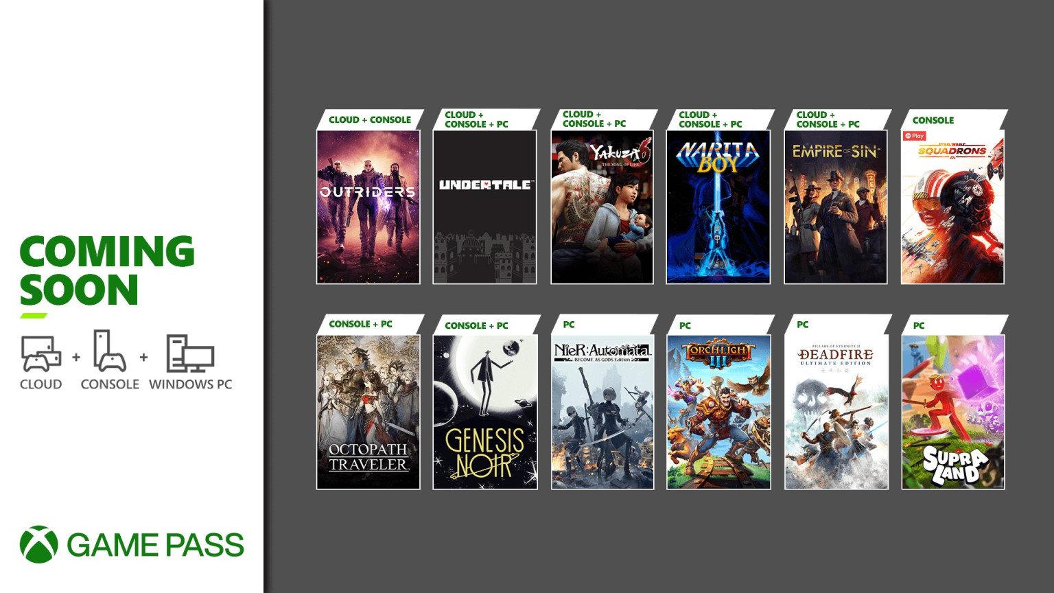 XGP 3月下旬新增游戏阵容 《尼尔》《火炬之光3》《八方旅人》等