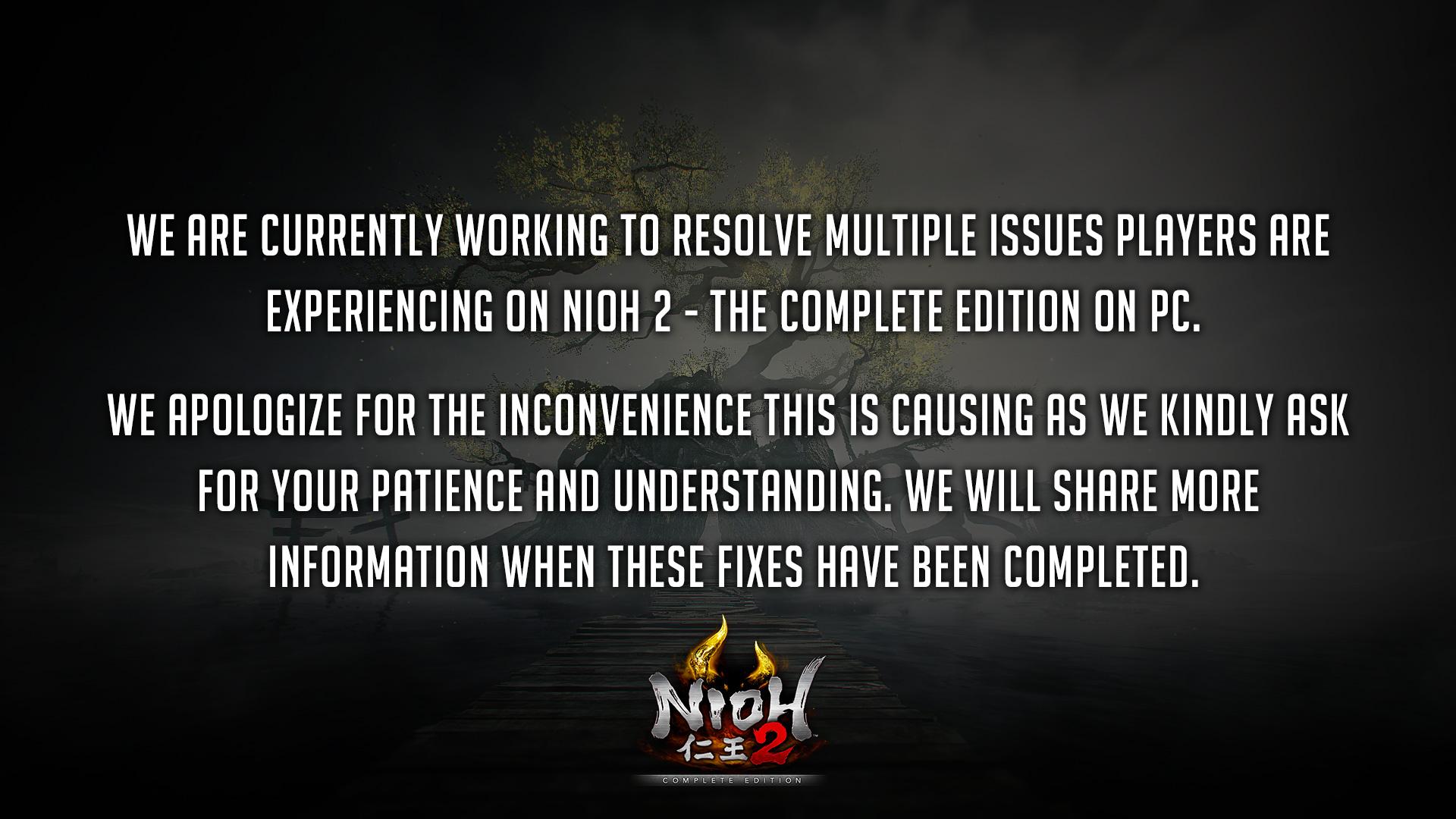 《仁王2》为PC版诸多BUG致歉 正在进行修复工作