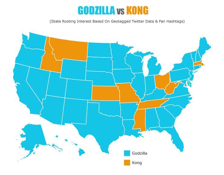 外媒投票:美国41个州支持哥斯拉战胜金刚