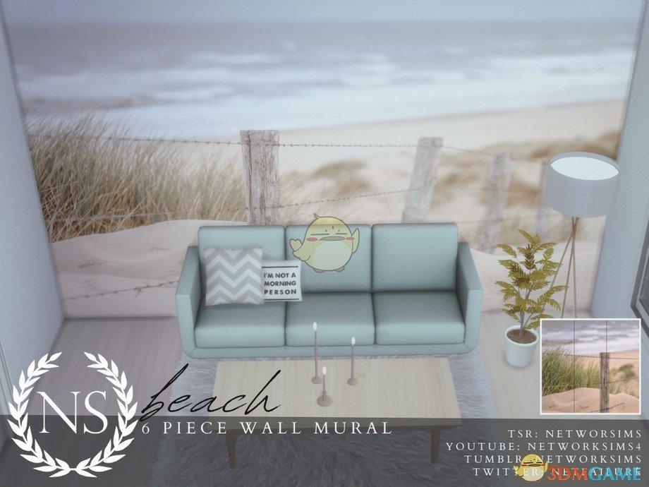 《模拟人生4》现实沙滩墙壁画MOD